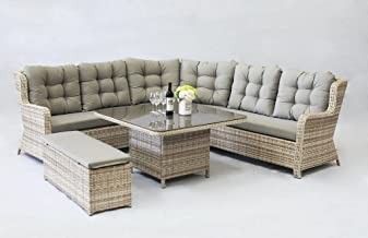 FurnitureOkay Mosman 5pc Wicker Outdoor Lounge Setting Patio Furniture Set
