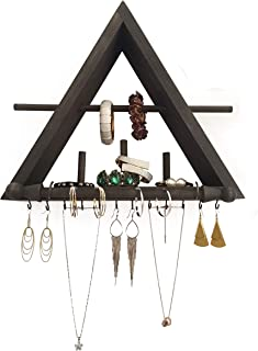 Jomo Rustic Jewelry Organizer with Bracelet Rod Wall Mounted | Wooden Wall Mount Holder for Earrings, Necklaces, Bracelets, and Many Other Accessories (Black)