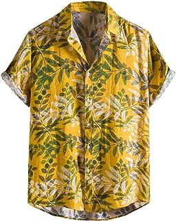Hombres Camisa Manga Corta con Estampado de Cocoteros, Flamencos y Flores Estilo,Camisetas Camisas Hawaiana para Hombre Bá...