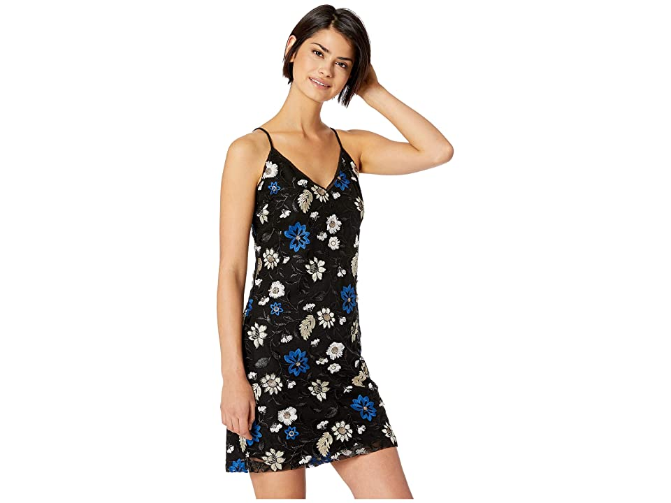 Miss Me Floral Embroidered Mini Dress (Black) Women