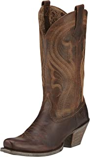 dark brown leather cowgirl boots