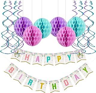 Fecedy Unicorn Rainbow Happy Birthday Banner Honeycomb Ball Streamers For Birthday party Decorations