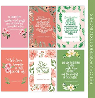 Bible Verse Wall Art, Set of 6 Posters 11x17 Bible Verse, Christian Wall Decor, Religious Gifts, Scripture Wall Art for Home