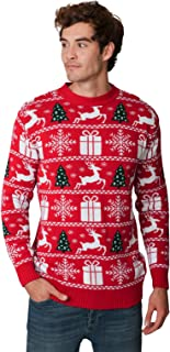 New Camp Ltd New Unisex Mens Womens Jumper Christmas Xmas Novelty Retro Fairisle Santa Party Sweater Jumpers Fairisle RED ...