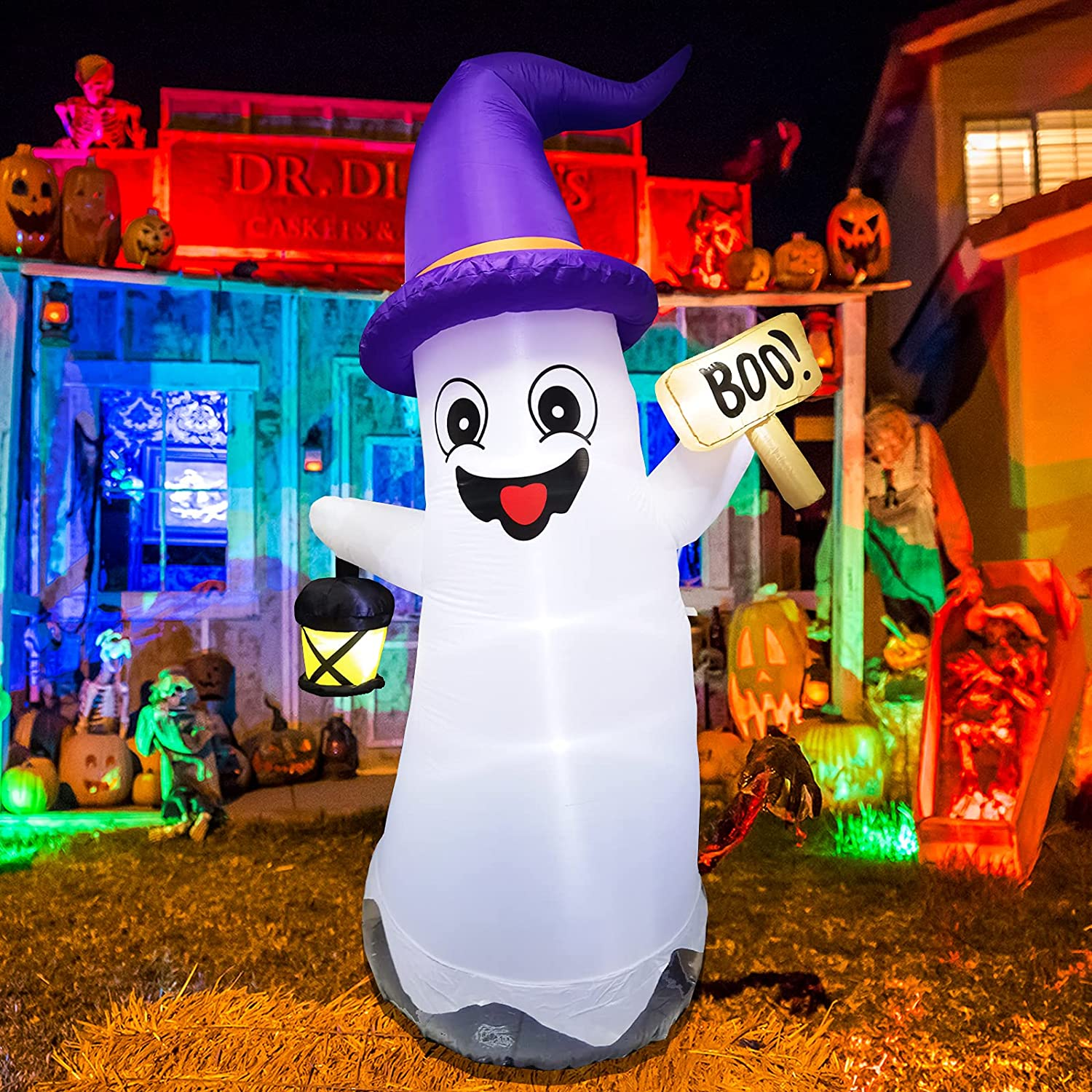 UMARDOO Halloween Inflatables Decorations, 8FT Halloween Blow Up Ghost with LED Lights, Ghost Inflatables Outdoor Decorations for Halloween Outdoor Yard Decoration