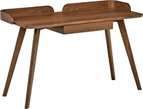 Rivet Mid-Century Curved Wood Table Home Office Computer Desk, 48.4