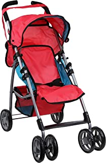 Mommy & Me Baby Doll Stroller Foldable Umbrella Doll Stroller with Swiveling Wheels, Basket, and Carriage Bag for Toddlers, and Little Girls, Red and Blue
