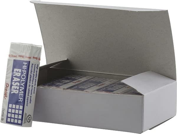 Pentel Hi Polymer Block Eraser Large White Pack Of 10 ZEH 10 Erasers ZEH10PC10