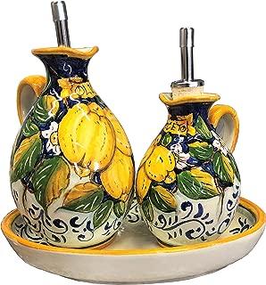 CERAMICHE D'ARTE PARRINI - Italian Ceramic Set Dispenser Cruets Oil And Vinegar + Small Tray Decorated Three Lemons Art Pottery Hand Painted Made in ITALY Tuscan