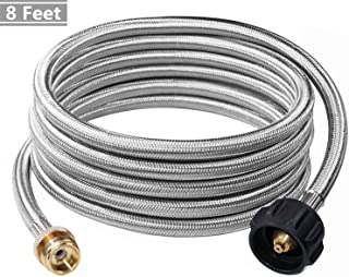 DOZYANT 8 Feet Stainless Steel Braided Propane Adapter Hose 1 lb to 20 lb Converter Replacement for QCC1 / Type1 Tank Connects 1 LB Bulk Portable Appliance to 20 lb Propane Tank - Safety Certified