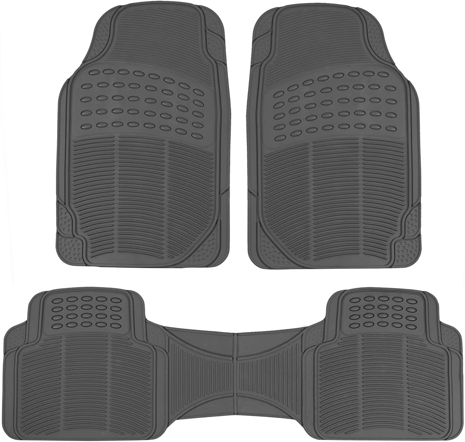 BDK MT783PLUS ProLiner Original 3pc Heavy Duty Front & Rear Rubber Floor Mats for Car SUV Van & Truck, All Weather Protection Universal Fit, Gray, 3 Piece (Pack of 1)