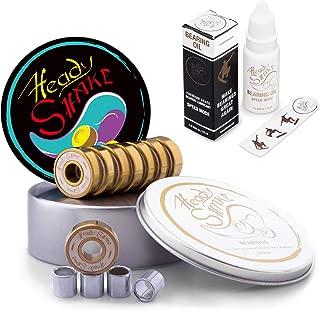 Heady Shake Pro Skateboard Bearings - Fastest Premium 608rs Titanium - Longboard, Skate Board, Kick Scooter, Inline and Roller Skates, 8-Pack