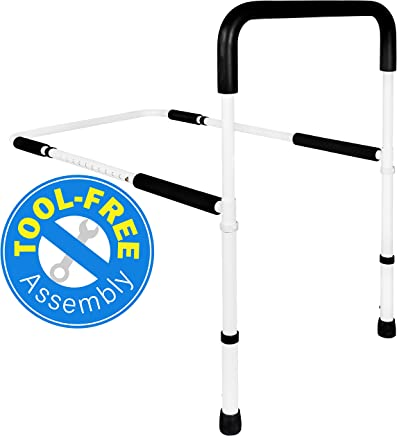 Medical Adjustable Bed Assist Rail Handle and Hand Guard Grab Bar, Bedside Safety and Stability (Tool-Free Assembly)