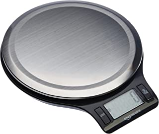 AmazonBasics Stainless Steel Digital Kitchen Scale with LCD Display (Batteries Included) (Renewed)