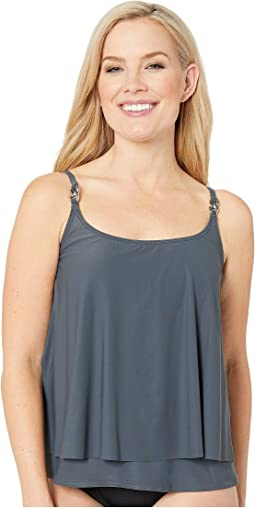 Radiant Chain Solids Layered Tankini Top