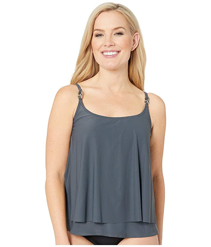 MICHAEL Michael Kors Radiant Chain Solids Layered Tankini Top (Gunmetal) Women