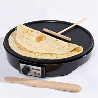 """Daewoo SDA1691, Crepe Maker with 12"""" Fixed Hot Plate for Pancakes and Adjustable Temperature Control, Non Stick Coating fo..."""