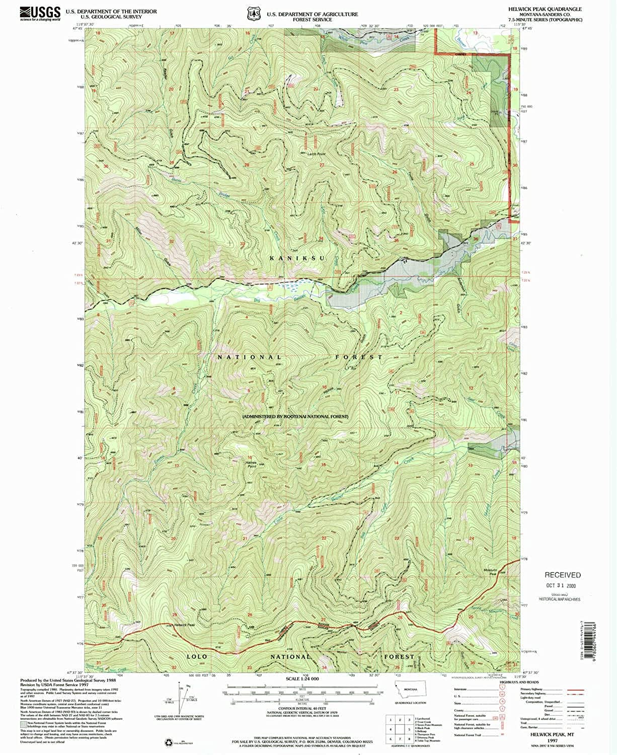 Helwick Peak MT topo map, 1 24000 Scale, 7.5 X 7.5 Minute, Historical, 1997, Updated 2000, 26.9 x 22.1 in