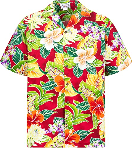Pacific Legend   Original Hawaii Chemise Manches Courtes Homme S 4x l     Avant de Poche   Hawaii Imprimé   Fleurs Jungle Feuilles   Rouge