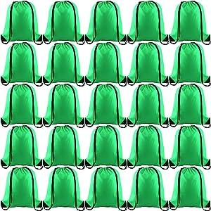 KUUQA 25Pcs Green Drawstring Backpack Bulk Drawstring Bags String Backpack Cinch Gym Backpack for Gym Sport Traveling