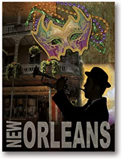 Gango Home Décor Popular New Orleans Mardi Gras Bourbon Street Trumpet Player Sign; One 12x16in Poster Print