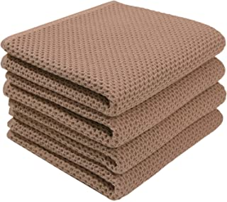 Giway 100% Cotton Waffle Weave Kitchen Dish Towels, Super Soft and Absorbent Kitchen Towels, Set of 4 (Brown, 13 in x 28 in)