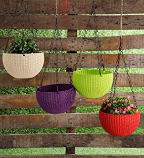 Trendy home Hanging Planters | UV Treated Plastic Pots Sanitized with Hanging Chains (Pack of 3) Multi Color | Size(8 inch...
