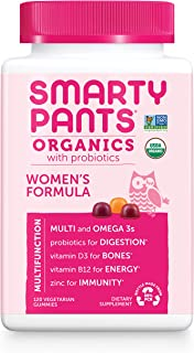Daily Organic Gummy Women's Multivitamin: Probiotic, Vitamin C, D3 & Zinc for..
