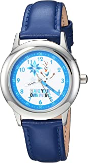 Disney Boys Frozen Olaf Stainless Steel Analog-Quartz Watch with Leather-Synthetic Strap, Blue, 16 (Model: WDS000194