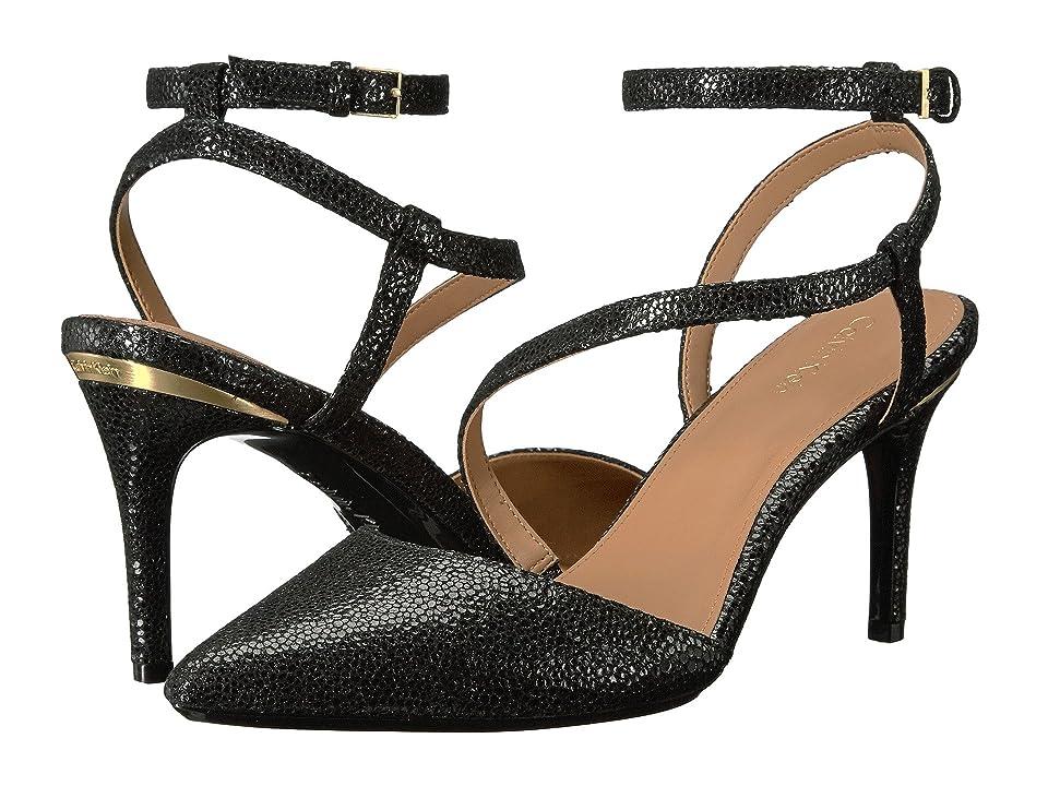 Calvin Klein Ganya (Black Pearlized Viper Print Leather) Women