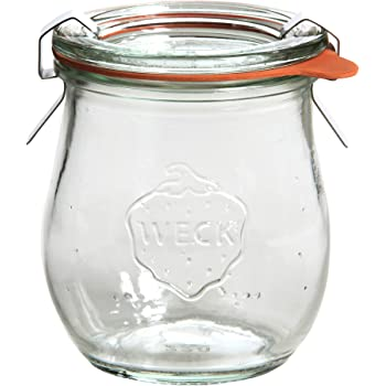 Weck Einmachgläser mit 60 mm Deckel, 220 ml, inklusive Dichtungen und Klammern, Packung mit 12 Stück, aus Glas, transparent