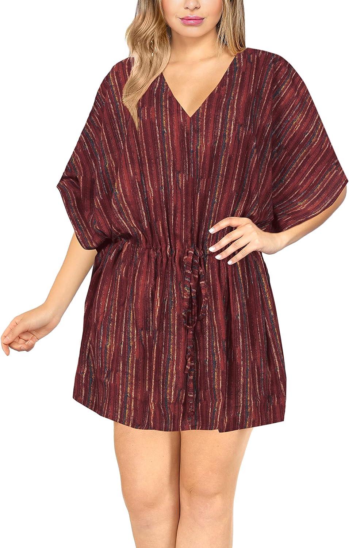 LA LEELA Women's Midi Beach Dress Boho Flowy Party Dress Tunic T-Shirt Printed
