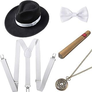 مجموعة إكسسوارات أزياء جاتسبي للرجال من BABEYOND 1920s تتضمن قبعة بنما بحزام على شكل حرف Y مرن ومربوط مسبقًا على شكل قوس و...