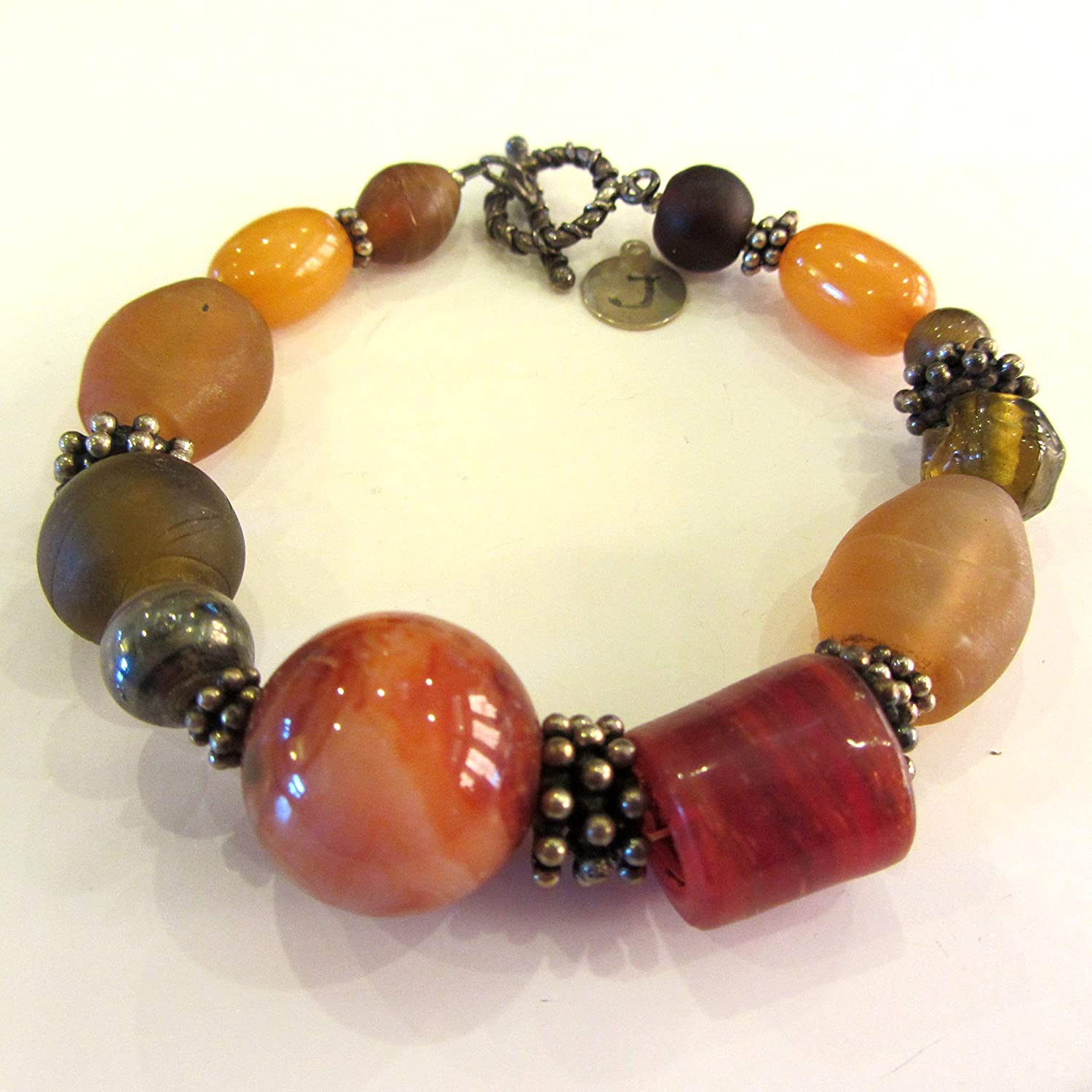 67% OFF of fixed price Vintage Max 88% OFF Amber Browns and Rust Glass Colored Sterling Beads with