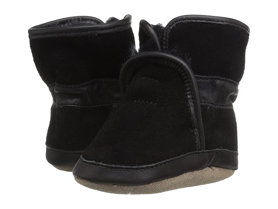 Robeez Cozy Ankle Bootie Soft Sole (Infant/Toddler) (Black) Boys Shoes