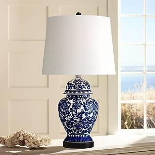 Asian Table Lamp Temple Porcelain Jar Blue Floral White Drum Shade for Living Room Family Bedroom Bedside Nightstand - Regency Hill