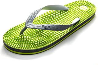 Revs - Reflexology Massage Flip Flops - For Men and Women - Massage Footbed and Natural Therapy - Stimulated Pressure Poin...