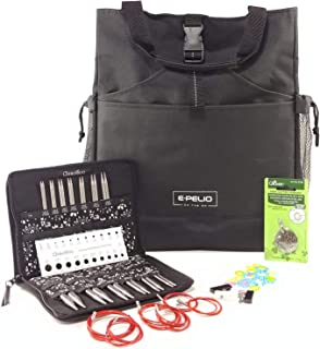 Chiaogoo Interchangeable Knitting Needles Circular Bundle Set-3 Items: Needle Kit and Accessories, ePelio Yarn Bag for Notions Storage/Organizer and Clover Cutter Pendant Tool for Knitters-7500C (5