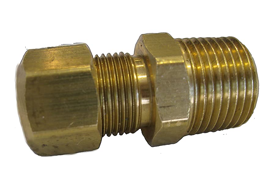 Compression Brass Fitting Connector Coupling X Male NPT?[68F0506] (5/16 Comp x 3/8 Male) g7257079748626