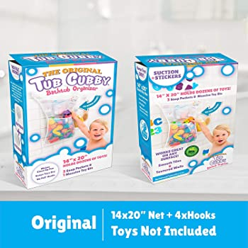 """Tub Cubby Bath Toy Organizer + Baby Rubber Ducky - 14""""x20 Mold Resistant Mesh Net Basket - 3 Soap Shampoo Dividers - ..."""