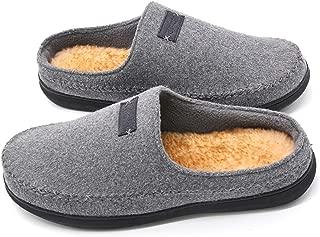 Men's Comfort Suede Fabric Memory Foam Slippers with Plush Fleece Lining