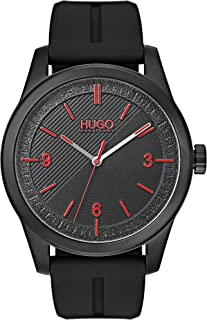 HUGO by Hugo Boss Men's #Create Stainless Steel Quartz Watch with Silicone Strap, Black, 22 (Model: 1530014)
