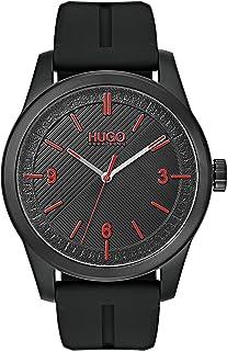 ساعة بمينا سوداء وسوار سيليكون اسود للرجال من هوغو بوس - طراز 1530014