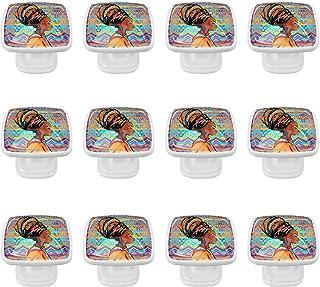 Boutons D'armoire 12 Pcs Poignés Poignée De Champignons Porte Poignées avec Vis pour Cabinet Tiroir Cuisine,Femme africain...