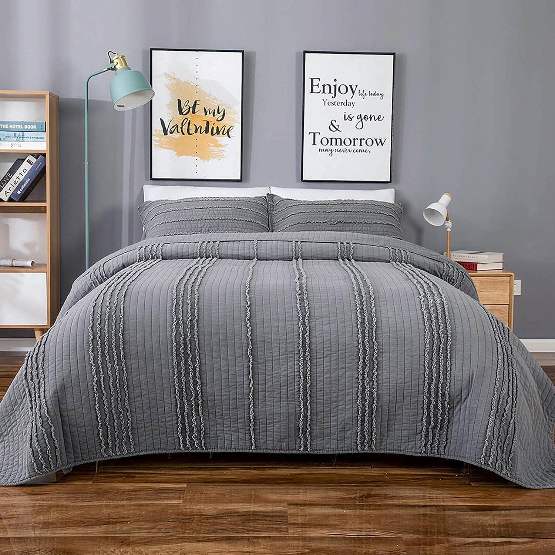 BOSOWOS Quilt Set Queen Size Grey - Piece 5 ☆ very popular 3 Bedsprea Max 73% OFF Lightweight