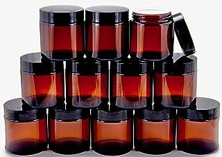 Vivaplex, 12, Amber, 4 oz, Round Glass Jars, with Inner Liners and black Lids