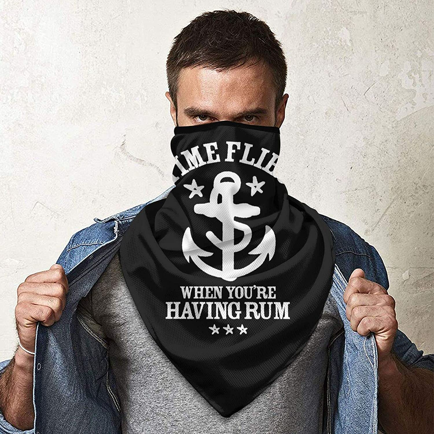 The Time Flies When Your Haveing Rum 1 Neck Gaiter Bandnas Face Cover Uv Protection Prevent bask in Ice Triangle Scarf Headbands Perfect for Motorcycle Cycling Running Festival Raves Outdoors Black