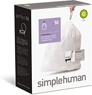 simplehuman Custom Fit Trash Can Liner G, 30 L / 8 Gal, 50-Count Box