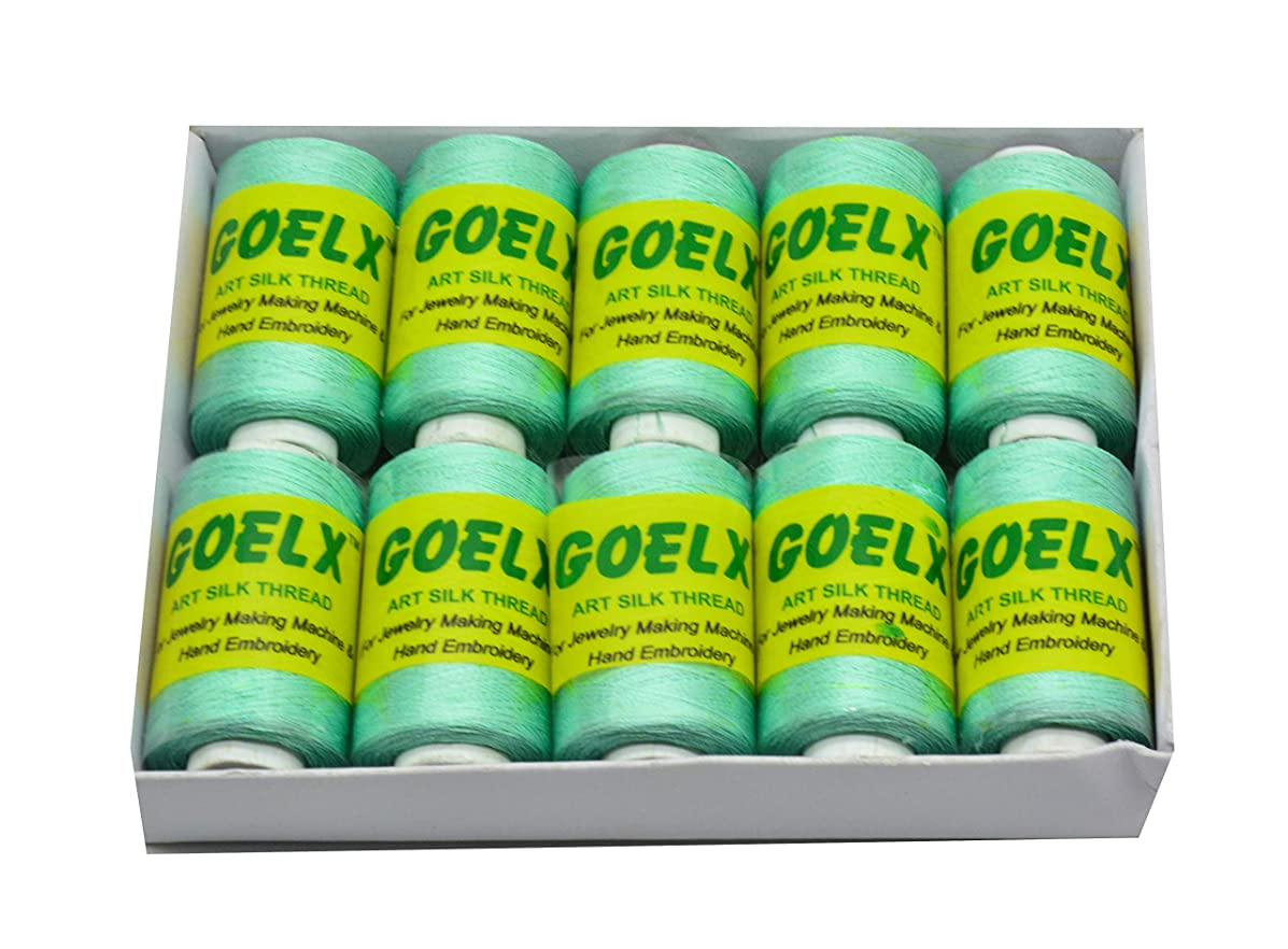 Goelx Silk Thread by Shade No for Jewelry, Tassel Making, Embroidery, Crafts, Shiny Soft Thread Spools - Green - 101
