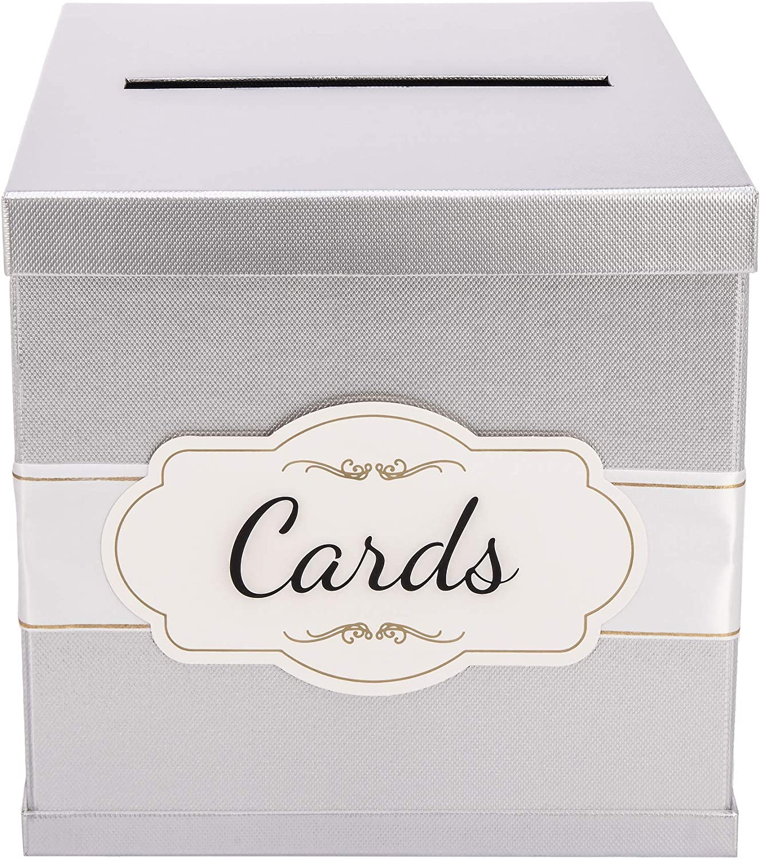 Silver Gift Card Box - Elegant White Satin Ribbon & Cards Label - 10x10x10